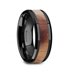 MARCUS Olive Wood Inlaid Black Ceramic Ring with Bevels - 8mm