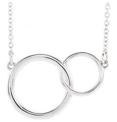 Sterling Silver White Interlocking Circle Necklace