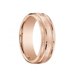 CLANCY Flat Brushed Finish 14K Rose Gold Ring with Dual Milgrains by Benchmark - 7.5mm