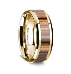 14K Yellow Gold Polished Beveled Edges Men's Wedding Band with Zebra Wood Inlay - 8 mm