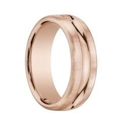 ORMOND Flat Brushed Finished 14K Rose Gold Ring with Polished Center Groove by Benchmark - 7.5mm