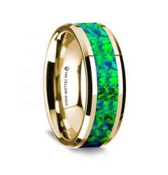 14K Yellow Gold Polished Beveled Edges Wedding Ring with Emerald Green and Sapphire Blue Opal Inlay - 8 mm