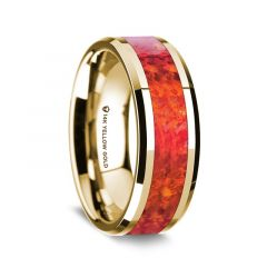 14K Yellow Gold Polished Beveled Edges Wedding Ring with Red Opal Inlay - 8 mm