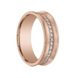 CARMINE Brushed Concave 14K Rose Gold Ring with Semi Circle of Diamonds by Benchmark - 7.5mm