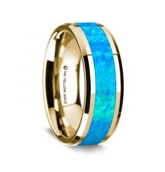 14K Yellow Gold Polished Beveled Edges Wedding Ring with Blue Opal Inlay - 8 mm