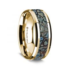 14K Yellow Gold Polished Beveled Edges Wedding Ring with Blue Dinosaur Bone Inlay - 8 mm
