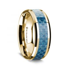 14K Yellow Gold Polished Beveled Edges Wedding Ring with Blue Carbon Fiber Inlay - 8 mm
