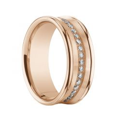 EDOM Diamond Concave 14K Rose Gold Ring with Polished Edges by Benchmark - 5.5mm & 7.5mm