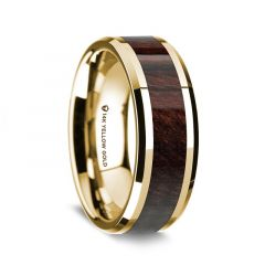 14K Yellow Gold Polished Beveled Edges Wedding Ring with Bubinga Inlay - 8 mm