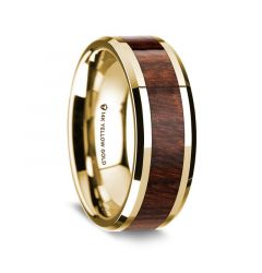 14K Yellow Gold Polished Beveled Edges Wedding Ring with Carpathian Wood Inlay - 8 mm