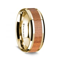 14K Yellow Gold Polished Beveled Edges Wedding Ring with Sapele Wood Inlay - 8 mm
