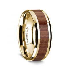 14K Yellow Gold Polished Beveled Edges Wedding Ring with Rosewood Inlay - 8 mm