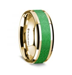 14k Yellow Gold Polished Beveled Edges Wedding Ring with Sparkling Green Inlay - 8 mm
