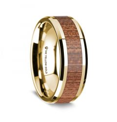 14K Yellow Gold Polished Beveled Edges Men's Wedding Band with Cherry Wood Inlay - 8 mm