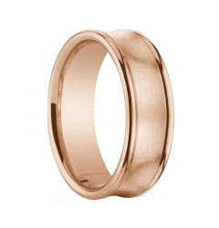 GARNETT Brushed Center Concave 14K Rose Gold Ring with Polished Edges by Benchmark - 5.5mm & 7.5mm