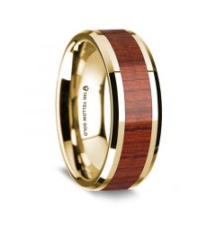 14K Yellow Gold Polished Beveled Edges Men's Wedding Band with Padauk Wood Inlay - 8 mm