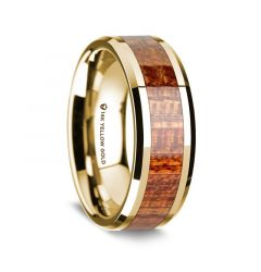 14K Yellow Gold Polished Beveled Edges Men's Wedding Band with Mahogany Wood Inlay - 8 mm
