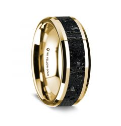 14K Yellow Gold Polished Beveled Edges Wedding Ring with Lava Inlay - 8 mm