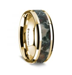 14K Yellow Gold Polished Beveled Edges Wedding Ring with Coprolite Inlay - 8 mm