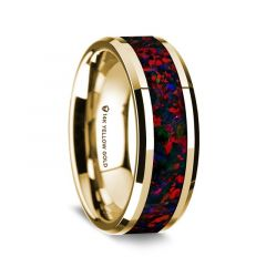 14K Yellow Gold Polished Beveled Edges Wedding Ring with Black and Red Opal Inlay - 8 mm