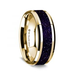 14K Yellow Gold Polished Beveled Edges Wedding Ring with Purple Goldstone Inlay - 8 mm