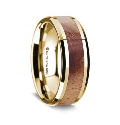 14K Yellow Gold Polished Beveled Edges Men's Wedding Band with Olive Wood Inlay - 8 mm