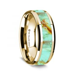 14K Yellow Gold Polished Beveled Edges Wedding Ring with Turquoise Inlay - 8 mm