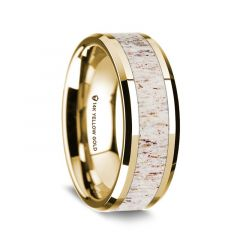14K Yellow Gold Polished Beveled Edges Wedding Ring with White Deer Antler Inlay - 8 mm
