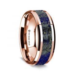 14k Rose Gold Polished Beveled Edges Wedding Ring with Lapis Inlay - 8 mm