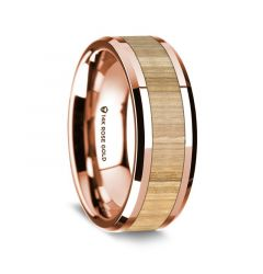 14K Rose Gold Polished Beveled Edges Wedding Ring with Ash Wood Inlay - 8 mm