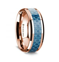 14k Rose Gold Polished Beveled Edges Wedding Ring with Blue Carbon Fiber Inlay - 8 mm