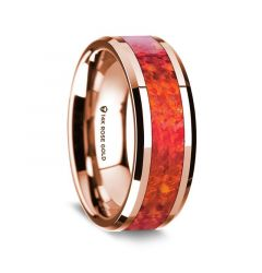 14k Rose Gold Polished Beveled Edges Wedding Ring with Red Opal Inlay - 8 mm