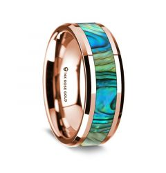 14K Rose Gold Polished Beveled Edges Wedding Ring with Mother of Pearl Inlay - 8 mm