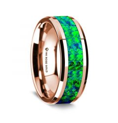 14k Rose Gold Polished Beveled Edges Wedding Ring with Blue and Green Opal Inlay - 8 mm
