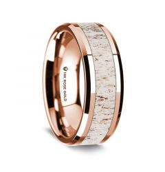 14K Rose Gold Polished Beveled Edges Wedding Ring with White Deer Antler Inlay - 8 mm