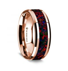 14K Rose Gold Polished Beveled Edges Wedding Ring with Black and Red Opal Inlay - 8 mm