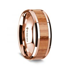 14k Rose Gold Polished Beveled Edges Wedding Ring with Red Oak Wood Inlay - 8 mm