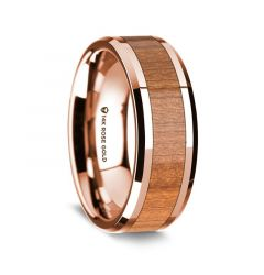 14K Rose Gold Polished Beveled Edges Wedding Ring with Cherry Wood Inlay - 8 mm