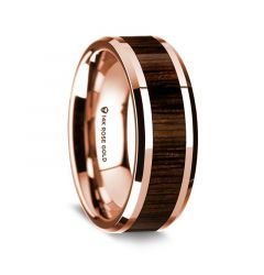 14k Rose Gold Polished Beveled Edges Wedding Ring with Black Walnut Inlay - 8 mm
