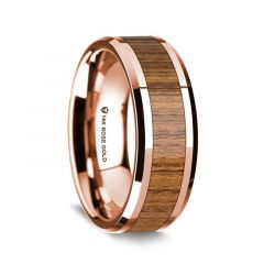 14K Rose Gold Polished Beveled Edges Wedding Ring with Teakwood Inlay - 8 mm