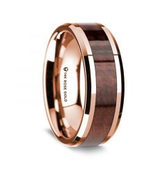 14K Rose Gold Polished Beveled Edges Wedding Ring with Redwood Inlay - 8 mm