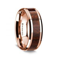 14K Rose Gold Polished Beveled Edges Wedding Ring with Carpathian Inlay - 8 mm