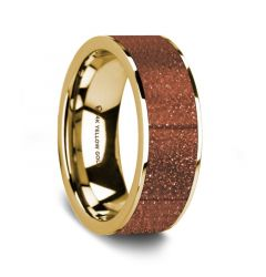 Flat Polished 14K Yellow Gold Men's Wedding Ring with Orange Goldstone Inlay - 8 mm