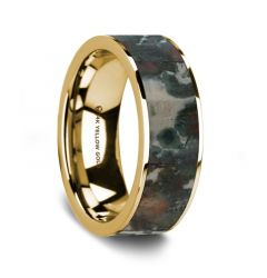 Flat Polished 14K Yellow Gold Wedding Ring with Coprolite Inlay - 8 mm