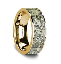 Flat Polished 14K Yellow Gold Wedding Ring with Green Dinosaur Bone Inlay - 8 mm