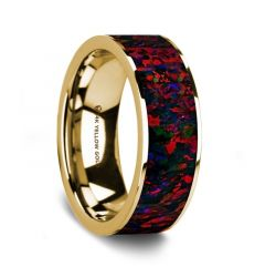 Flat Polished 14K Yellow Gold Wedding Ring with Black and Red Opal Inlay - 8 mm