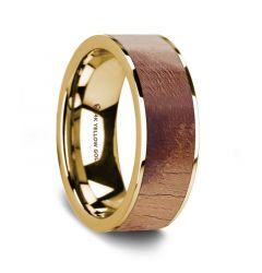 Flat Polished 14K Yellow Gold Men's Wedding Band with Olive Wood Inlay - 8 mm