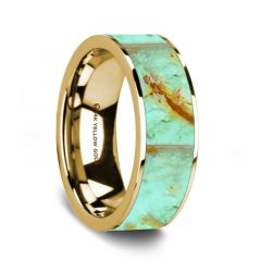 Flat Polished 14K Yellow Gold Wedding Ring with Turquoise Inlay - 8 mm