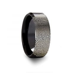 Fingerprint Black Tungsten Ring with Polished Beveled Edges and Brush Finished Center - 4mm - 10mm