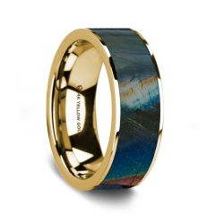 Flat Polished 14K Yellow Gold Wedding Ring with Spectrolite Inlay - 8 mm